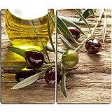 DEKOGLAS   Herdabdeckplatten aus Glas, inklusive Noppen   2er-Set - 2 Stück 30x52 cm   Herdabdeckung, Schneidebrett, Spritzschutz   Oliven Mediterran