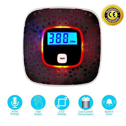 MAGIFIRE Kohlenmonoxid-Detektor mit Sprachwarnung, batteriebetriebener CO-Alarm mit LCD-Digitalanzeige, Alarmsignal (Schwarz) (Lcd-digitalanzeige)
