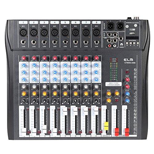 Ammoon Mischpult CT80S-USB 8 Kanal, Digital-Mic, Linie-Audio, Mischpult, Konsole mit 48V, Phantomspeisung, für Aufnahmen, DJ, Bühne, Karaoke