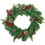 com-four® künstlicher Weihnachtskranz, Adventskranz in grün, mit ECHTEN Kiefernzapfen, Ø 45 cm, 84 Spitzen, Tannenkranz mit Zapfen und roten Beeren (001 Stück - Kranz mit Zapfen/Beeren)