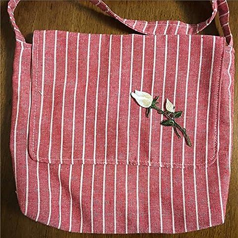 Handgefertigt Streifen Baumwolle Leinen Klappe Messenger Tasche bestickt Blume Aufnäher rot