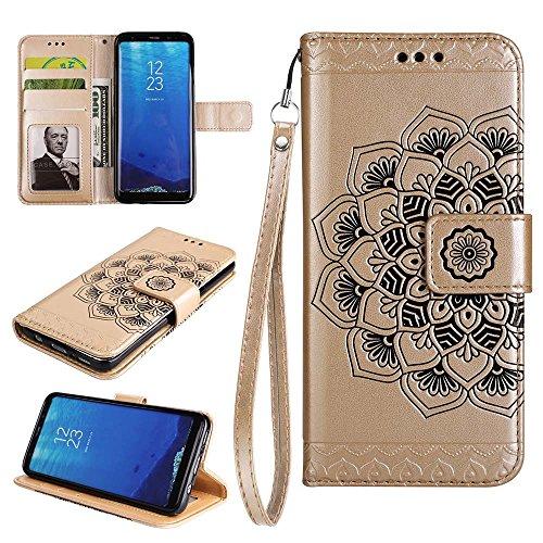 Custodia Galaxy S8 Plus, Custodia In Pelle Pu E Portafoglio In Tpu Con Motivo In Rilievo Esstore-eu, Fessura Per Carta, Custodia Per Samsung Galaxy S8 Plus (nero) Oro
