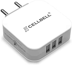 CELLBELL Supercharge 3.4A /17 Watts /3 USB Universal Wall Charger [ Indian Plugs / Multi Protect Features / With 1.2M - 2.4A Micro USB Cable] (White)