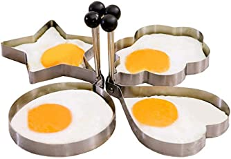 Heart's Choice Stainless Steel Fried Egg Mould, Non-Stick Rings Cooking Pancake Omelets Mold Kitchen Tools (Egg_Mould_4/set-ma, Silver)-Set of 4