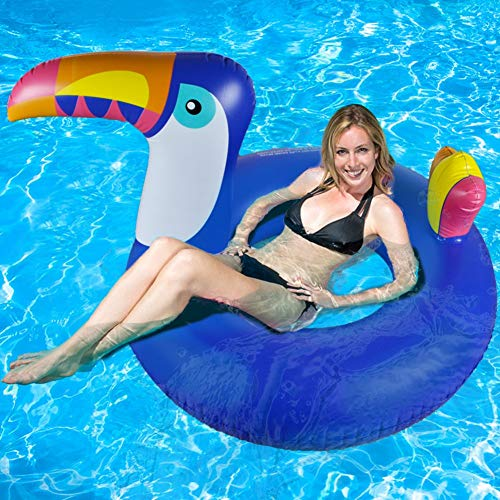 Galleggiante gonfiabile gigante a forma di tucano, per l\'estate, per piscina, con valvole rapide, giocattoli per adulti e bambini