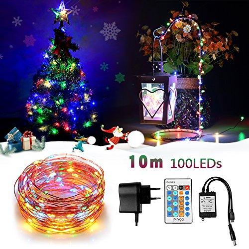 InnooLight LED Lichterkette10M 100er LED Kupferdraht Lichterketten mit Fernbedienung, Wasserdichte Sternen-Beleuchtung für Garten,Schlafzimmer, Weihnachtsfeier, Fenster (Bunte)