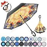 Reversion Regenschirm, Innovative Schirme Double Layer Winddicht Regenschirm Freie Hand Taschenschirm Inverted Stockschirme mit C Griff für Reisen und Auto Outdoor di ZOMAKE (Eindruck von der Reise)