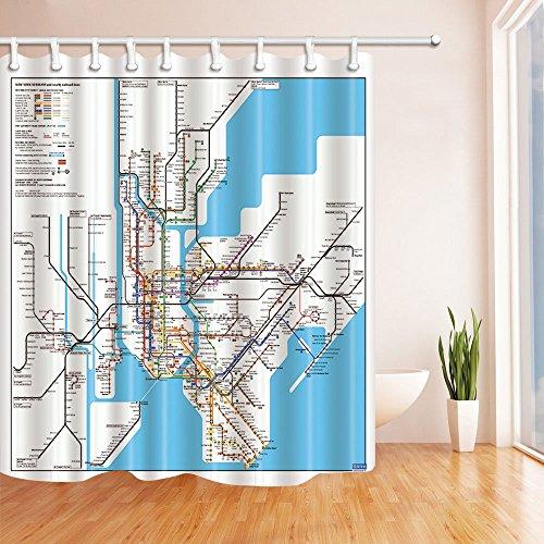 GzHQ 3D-Digitaldruck Landkarte Dekor New York City U-Bahn Duschvorhang schimmelresistent Stoff Badezimmerdekoration Badvorhänge Haken inklusive 183 x 183 cm -