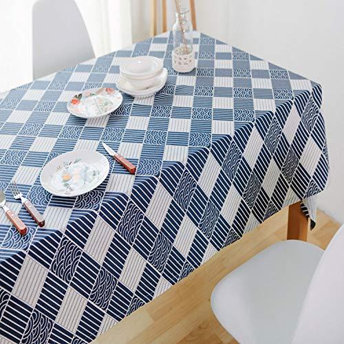 Cfwl tovaglia di lino in cotone tovaglia rettangolare in tessuto per la casa navy 140 * 160cm tovaglie bianche ristorante tovaglie bianche rettangolari cotone