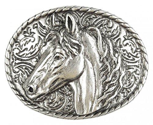 Gürtelschnalle mit Relief - Portrait des Pferds - Wechselschliesse in edlem Design als besonderes Geschenk