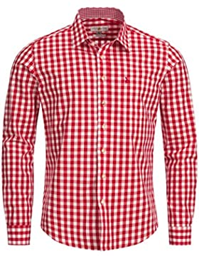Almsach Trachtenhemd Slim Fit in Rot