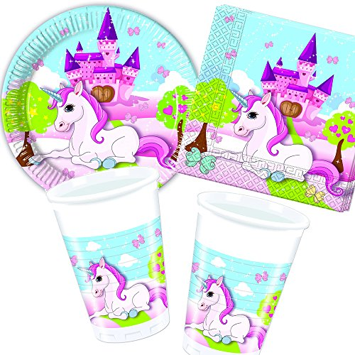 37-teiliges-Set-UNICORN-mit-Pappteller-Servietten-Becher-Deko-fr-Kindergeburtstag-von-Disney-Carpeta-Teller-Becher-Essen-Pappe-Geschirr-Party-Deko-Dekoration-Einweg-Kinder-Geburtstag-Mottoparty-Einhor
