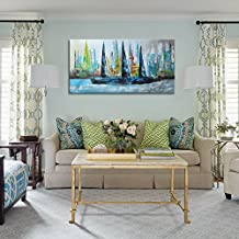 raybre art pintada a mano cuadros en lienzo cm x cm cuadros abstractos modernos grandes pintura de paisaje barcos del mar del puerto natural para