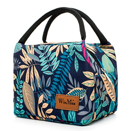 Winmax Lunch Cooler Bag, Small Insulated Lunch Box Bags, Portable and Reusable Lunch Bag for Women (Leaves Pattern)