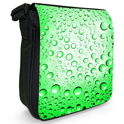 Farbige Wassertröpfchen Kleine Schultertasche aus schwarzem Canvas Wassertröpfchen Grün