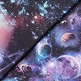 Fabulous Fabrics Baumwolljersey Panel Glitzer Galaxie – lila — zum Nähen von Tops und Shirts