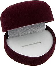 EYS JEWELRY® Schmuck-Etui für Ring 50 x 40 x 35 mm Samt bordeaux-rot Ring-Box Schachtel Schatulle Geschenk-Verpackung EYSBOX Herz