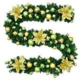 Jnseaol Kränze Girlanden 2.7M Treppe Kamin Fenster Shop Einkaufszentrum Weihnachtsbaum Dekoration Luxus Weihnachtskranz Urlaub Geschenk,Golden Green Ball