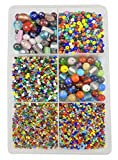 #7: eshoppee Multicolor 300 gm 2-12mm Glass Beads Seed Beads Bead for Jewellery Making Art and Craft do it Yourself DIY kit. (Multicolor 2)