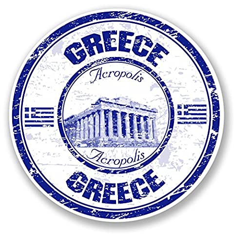 2 x Greece Acropolis Vinyl Sticker iPad Laptop Travel Luggage Tag Fun Car #4381 (10cm x 10cm)
