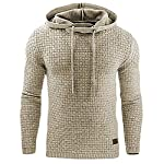 Yeshi Men's Sweatshirt Long Sleeve Hoodie Warm Casual Sports Hooded Top Coat Pullover Size M (Apricot)