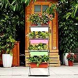 Ikayaa pliable en métal à 4étages pour plantes avec support de support pour pot de jardin Pot de fleurs avec support écran étagère