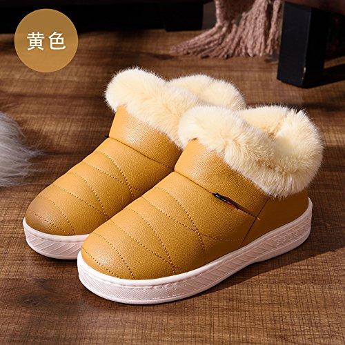 DogHaccd pantofole,Inverno pelle pu alta per aiutare uomini e donne rimanere impermeabile home paio di pantofole di cotone confezione con spesse, antiscivolo indoor scarpe di cotone Giallo3
