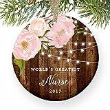 Weihnachtsschmuck für Bäume World 's Greatest Nurse Best Krankenschwestern datiert Pink Peonies Weihnachts für Frau Tochter Frau Pflege Student Ornament Keramik Crafts für Mädchen xmas Decor