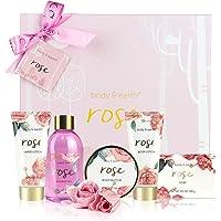 Coffret de Bain & Douche pour Femme, Body&Earth 6 Pièces Coffret Cadeau au Parfum de Rose, Parfait Cadeau pour l'Anniversaire et la Fête de Mères