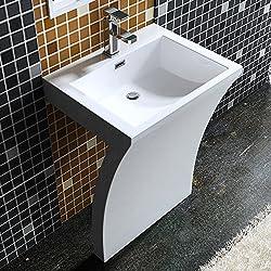 58,5x48x84 cm Design Standwaschbecken Colossum07, aus Gussmarmor, Waschtisch, Waschplatz, Stand, Säule,