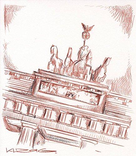 Original Rötelzeichnung auf Zeichenkarton: Berlin Brandenburger Tor / 21x24 cm