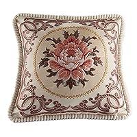 Classic Jacquard Embroidery Decorative Pillow Cover Cushion Cover Cotton Linen Throw Pillow Case,50cm x 50cm/20