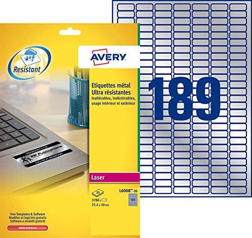 AVERY - Pochette de 3780 étiquettes métalisées autocollantes ultra-résistantes en polyester, Personnalisables et imprimables, Format 25,4 x 10 mm, Impression laser, (L6008-20)