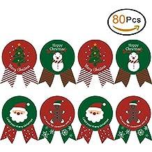 EQLEF Natale Adesivi Natalizie Guarnizioni per Sacchetto di Cottura con Lovely XmasTree, Adesivi Colorati Etichetta Seal Arco per Confezioni Regalo Buste di Carte (80 PCS)