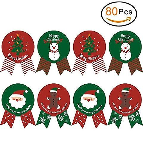 Ensemble de 80 Baking joint de Noël emballage de cravate autocollants apposés Joyeux Noël & Present étiquette de vacances Autocollants & Joyeux Noël (80 pcs)