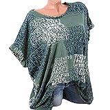 NINGSANJIN Damen Oberteile V-Ausschnitt Bluse Übergröße T-Shirt Kurzarm Stretch große größen Casual Tunika Bandagen Spitze Tops Frauen Party Damenmode (XL,Grün)