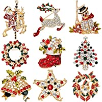 BESTIM INCUK 9 Pack Multi-colored Rhinestone Crystal Christmas Brooch Pin Set for Christmas Decorations Ornaments Gifts Including-Christmas Tree,Santa Claus,Snowman,Jingle Bells,Star,Garland,Reindeer