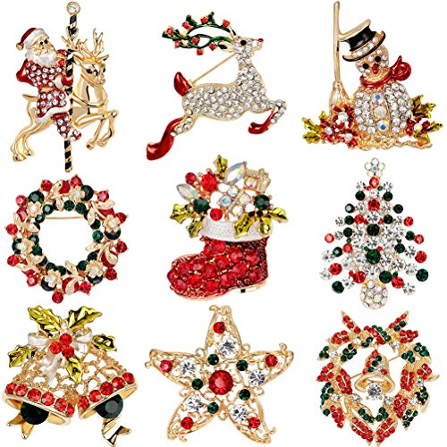 Bestim incuk 9 Pack bunten Strass Kristall Weihnachten Brosche Pin-Set für Weihnachtsschmuck Ornaments Geschenke including-christmas Baum, Santa Claus, Schneemann, Jingle Bells, Star, Girlande, Rentier