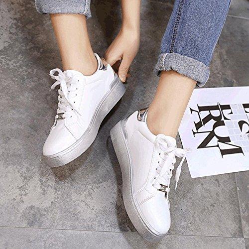 Damen Klassische Schnürhalbschuhe Bequem Rundzehen Anti-Rutsche Gummi Sohle Skateboard-Schuhe Silber