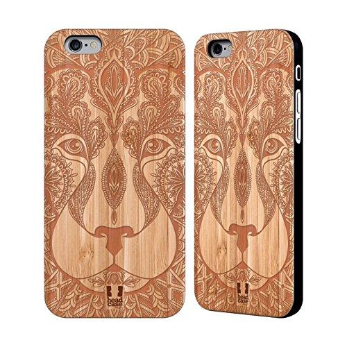 Head Case Designs Tournesol Complexités En Bois Étui Coque En Bois De Bambou Pour Apple iPhone 5 / 5s / SE Lion