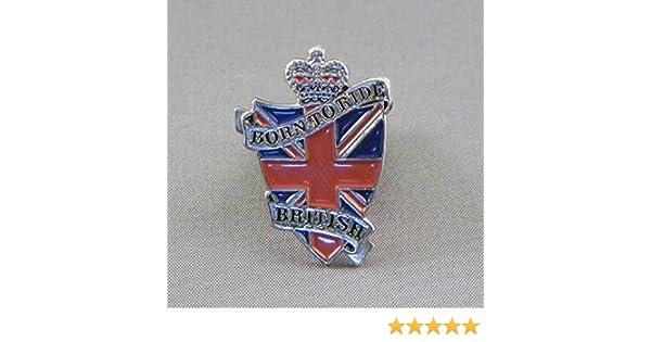 Metal Enamel Pin Badge Born To Ride British Biker Union Jack Flag Shield Brit Bike Bulidog Motorcycle Motorbike by Mainly Metal