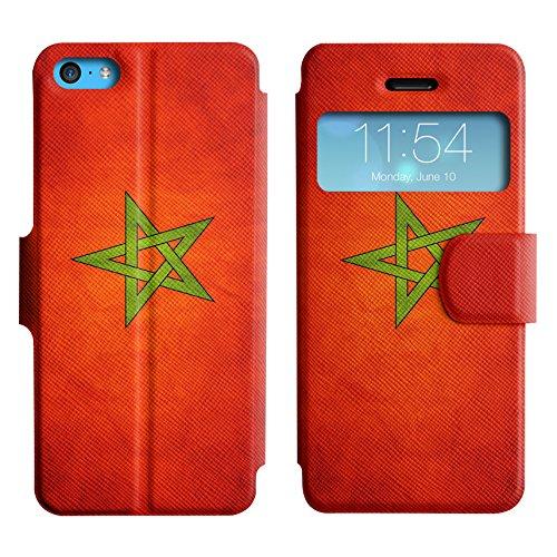 Graphic4You Vintage Uralt Flagge Von Iraker Irak Design Leder Schützende Display-Klappe Brieftasche Hülle Case Tasche Schutzhülle für Apple iPhone 5C Marokko Marokkanisch