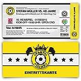 Einladungskarten zum Geburtstag (40 Stück) als Fußballticket Karte Fussball Einladung Ticket in Gelb