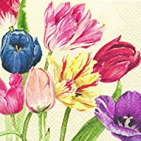 5 Servietten klassische Tulpen classic tulips Serviettentechnik Motivservietten