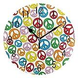 Mnsruu - Reloj de Pared Redondo de acrílico con diseño de símbolo de la Paz de Dibujos...