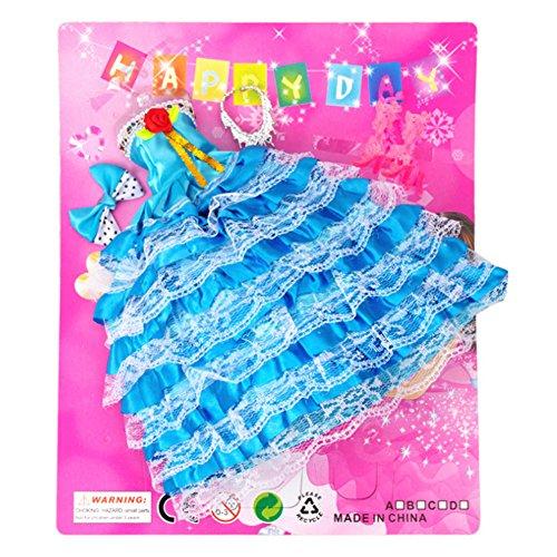 Wudi Barbie Doll Dress Outfits mit Kleidung mit Ohrringe, Frisur, Mode-Accessoires Kleid Brautschuhe für Mädchen Geburtstags-Geschenk (blau)