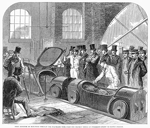 Euston Station (Post Office 1863. /Nfirst Dispatch of Mailbags Through The Pneumatic Tube from The District Office In Eversholt Street to Euston Station. Wood Engraving English 1863. Kunstdruck (60,96 x 91,44 cm))