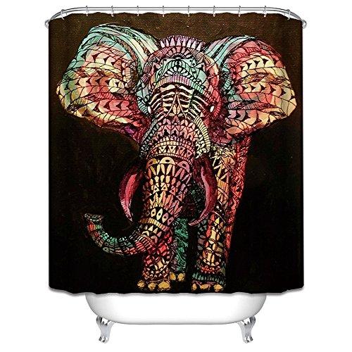 HROOME Duschvorhang – bunter Elefant als Motiv inkl. 12 Haken 180x180cm - 2