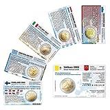 6 Münzkarten ohne Münze (6 Länder) von 2004 für 2-Euro Gedenkmünzen Größe ca. 86 x 54 mm,Karton ca. 350g/m²