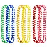 Shappy 6 Pièces 7 mm Colliers en Néon Perles Fluorescentes en Plastique Coloré pour 70 s 80 s Thème Fête de Graduation